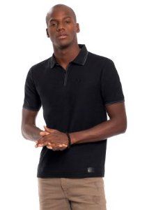 Camisa Polo Masculina Abertura com Zíper