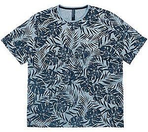 Camiseta Plus Size Masculina com Estampa Folhas
