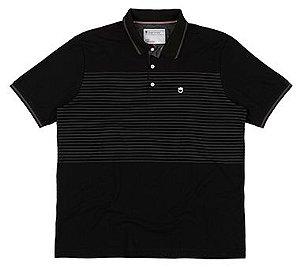 Camisa Polo Plus Size c/ Listras - Preta