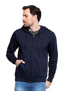 Blusão Masculino em Moletom c/ Capuz e Zíper - Azul Escuro