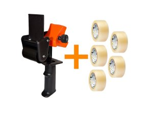 Kit - Suporte Aplicador  de Fita Adesiva Grande + 5 Fitas adesivas transparente