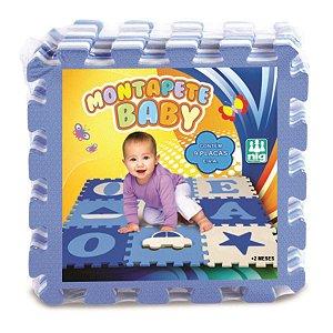 Tapete em EVA - Montapete Baby - Vogais - 9 Peças - Azul - Nig Brinquedos