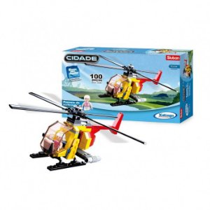 Blocos para Montar Cidade - Passeio de Helicóptero - 100 peças - Xalingo