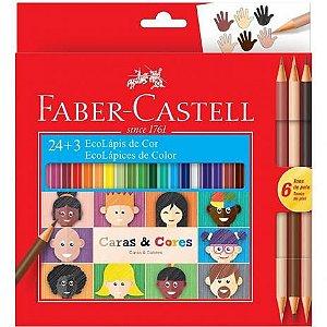 Lápis de Cor Caras e Cores - 24 Cores - Faber Castell