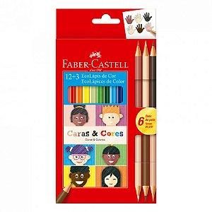 Lápis De Cor - Caras e Cores - 12+6 Cores - Faber Castell