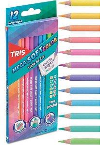 Lápis de Cor - Tons Pastéis - 12 cores - Mega Soft - Tris