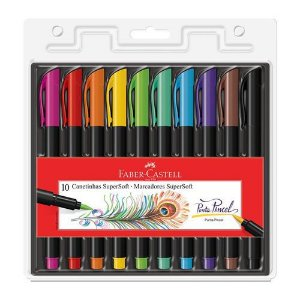 Caneta Brush - Supersoft - 10 Cores - Faber Castell