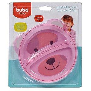 Prato com Divisória - Urso - Rosa - Buba