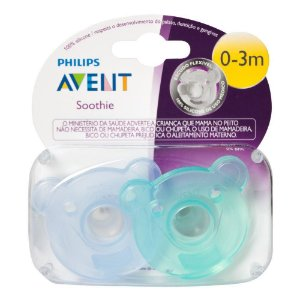 Chupeta Soothie Silicone - 0+ - Azul e Verde -  2 uni - Philips Avent