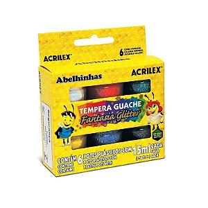 Tinta Guache - Glitter - 6 cores - Acrilex