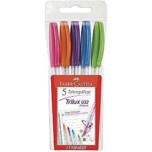 Kit Canetas Esferográficas Coloridas  - Trilux Medium 1.0 - 5 un - Faber Castell
