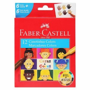 Caneta Hidrográfica - Caras e Cores - 12 Cores - Faber Castell