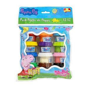 Conjunto de Massinha Peppa Pig - Pack Festa da Peppa - 12 potes 28g - Sunny