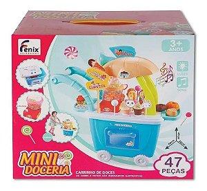 Mini Doceria - Carrinho de Doces - Rosa - 47 peças - Fenix