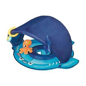 Boia Tubarão com Fralda e Para-sol - Azul - 1,13mX56cm - Mor