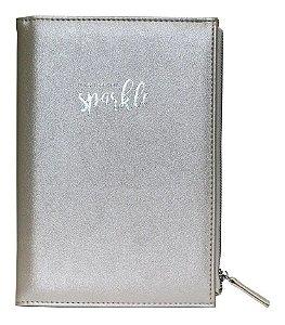 Caderno Pautado com Estojo - Prata - 80 Folhas - 80g - Bee Unique