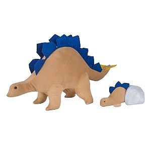 Pelúcia - Estegossaura Grávida com 1 filhote - Marrom e Azul - Bichos de Pano