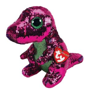 Beanie Boos  - Paetês - Médio - Stompy  - Dinossauro Rosa - DTC