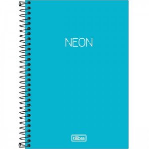 Caderno Espiral - Capa Plástica - 1/4 sem Pauta - Azul Neon  - 80 Folhas - Tilibra