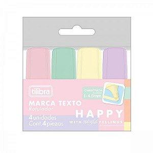 Marca Texto Mini - Happy - Tons Pastel - 4 un - Tilibra