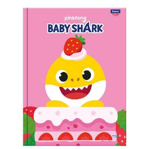 Caderno Brochura - Capa Dura - Sem Pauta - 90 Folhas - Baby Shark - Foroni