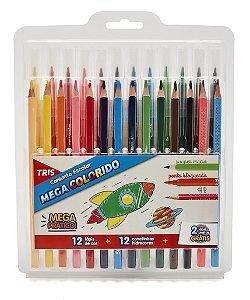 Conjunto Escolar Mega Colorido - 12 Lápis de Cor + 12 Canetinhas Hidrocores + 2 Lápis Pretos - Tris