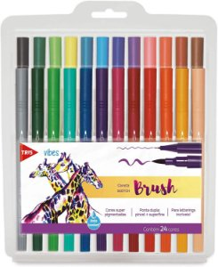 Kit Caneta Sketch Brush - Ponta Dupla - Vibes - 24 Cores - Tris