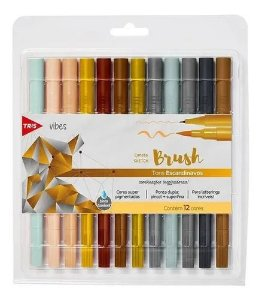 Kit Caneta Sketch Brush - Ponta Dupla - Vibes Tons Escandinavos  - 12 Cores - Tris
