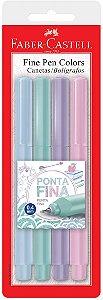 Caneta Fine Pen Colors - 0,4 mm -  4 Cores - Tom Pastel - Faber-Castell
