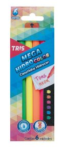 Canetinha Hidrográfica - Mega Hidrocolor - 6 Cores - Neon - Tris