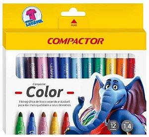 Canetinha Hidrográfica - Color - 12 Cores - Compactor