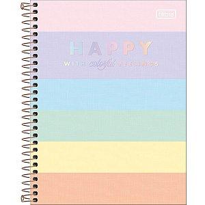 Caderno Colegial - Capa Dura - Happy Colors - 10 Matérias - 160 Folhas - Tilibra