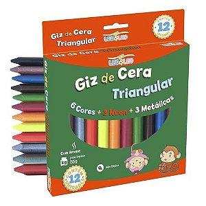Giz de Cera - Triangular - 12 cores - Cores Básicas - Neon - Metálicas - Com Aroma - Leo e Leo