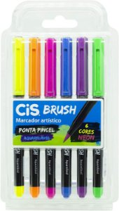 Kit Canetas Brush Pen - Aquarelável - 6 Cores - Neon - Cis