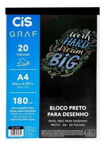 Bloco Preto para Desenho - Papel 180g A4 - 20 Folhas - Cis
