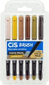 Kit Caneta Brush - Aquarelável - 6 Cores - Tons de Pele - Cis