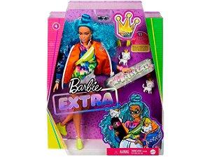 Boneca Barbie Fashionista Extra - Cabelo Azul - com Acessórios - Mattel
