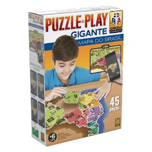Quebra-Cabeça Play - Gigante - Mapa do Brasil - Grow