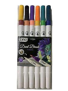 Kit Caneca Dual Brush - Magic - 6 unidades - 12 cores - Lyke