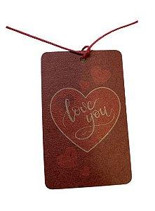 Tags Decorativas com cordão De para Love You Red Heart c/ 12 unidades