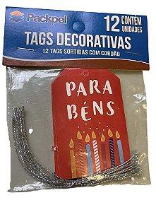 Tags Decorativas com cordão De para Parabéns c/ 12 unidades