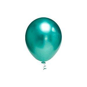 Balão cromado verde número  9 com 25 unidades - ArtLatex