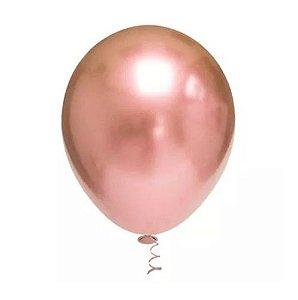 Balão Cromado Rose Gold número  9 com 25 unidades  - ArtLatex