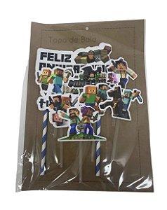 Topper Topo de Bolo Personalizado da Minecraft