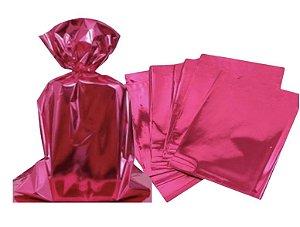 Saco para Presente cor Pink metalizado 25x37cm com 50 unidades - Packpel