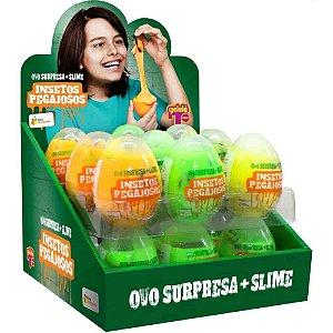 Ovo Surpresa com Slime Insetos Pegajosos com 18 unidades - Doce Brinquedo