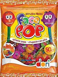 Pirulito Facepop com Apito Sabores Sortidos 450g (50 unidades) - Dori