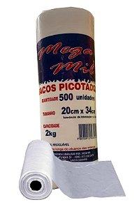 Bobina Sacos Plásticos Picotados (500 Unidades) Capacidade 2 kg - Mega Mil