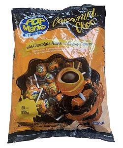 Pirulito Pop Mania Caramel Chocolate 850g - Riclan