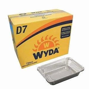 Bandeja de alumínio retangular 750 ml D7 c/ 100 unidades - Wyda